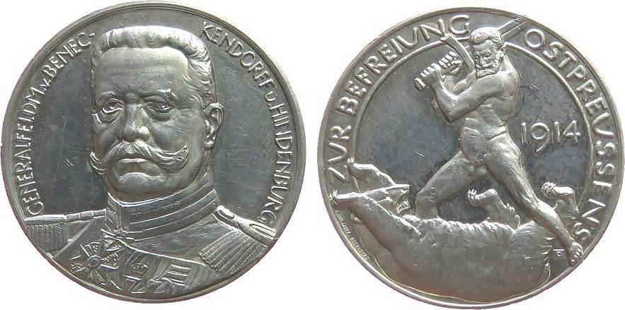Medaille 1914 Hindenburg Silber Hindenburg und Beneckendorf Generalfeldmarschall von - auf die Befreiung Ostpreussens, Büste von vorn / nackter krieger m vz