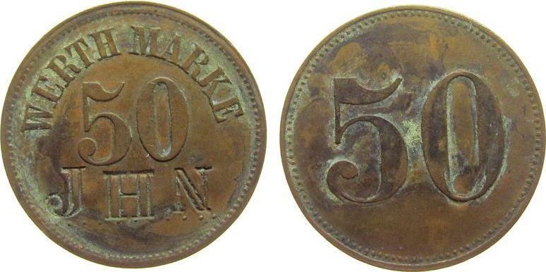 Marke zu 50 Centimes o.J. Luxemburg Kupfer JHN - Cafe, Luxemburg, ca. 25,5 MM ss