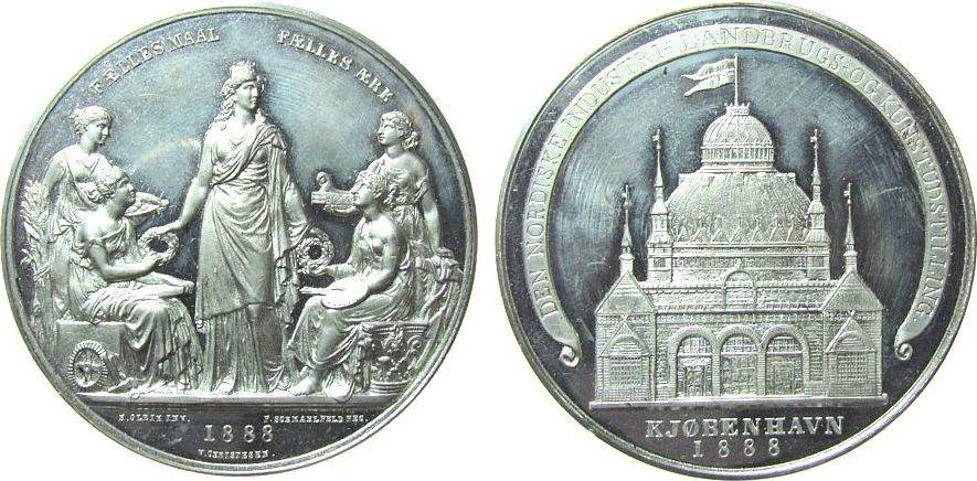 Medaille 1888 Dänemark Zinn Kopenhagen - auf die Nordische Kunst- und Industrieausstellung, Stadtgöttin umgeben von vier Frauen (Handwerk, Kunst, Landw vz aus pp