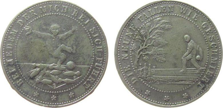 Medaille o.J. Sport WM Kegeln, beiderseits Kegelszene, ca. 29 MM, Fassungsspur ss