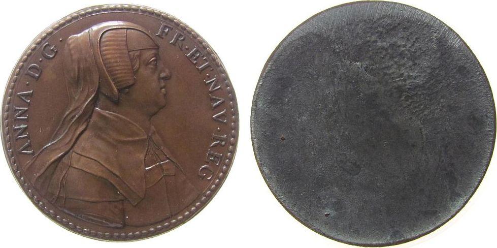 Klischee o.J. Frankreich Bleiguß bronziert Anna von Österreich mit Witwenschleier, Louis XIV (1643-1715), ca. 54 MM, neuzeitliche Anfertigung der Rücksei vz-stgl