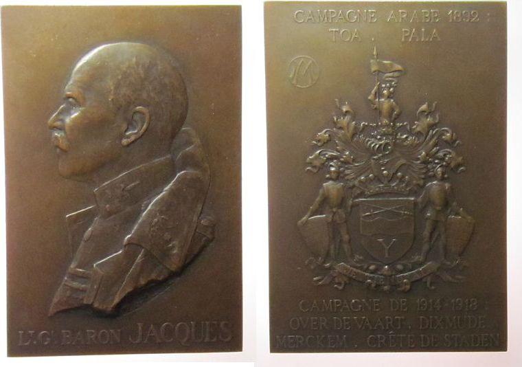 Plakette 1921 Belgisch Kongo Bronze Jacques Jules Marie de Baron - Oberbefehlshaber der belgischen Armee, Generalleutnant, Campagne Arabe 1892, Büste nach li vz