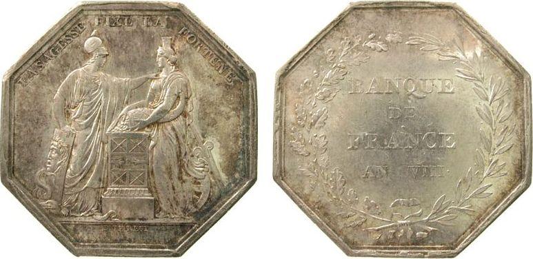 Jeton 1800 Frankreich Silber Banque de France AN VIII, Minerva und Fortuna / Schrift im Kranz, v. Dumarest, 36 MM, Randpunze: Hand (1845-60), spätere vz