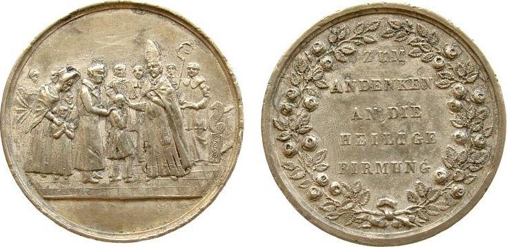 Medaille o.J. Reformation / Religion Zinn Firmung, Firmungsszene / Schrift im Kranz, Durchmesser 34,8 MM ss-vz