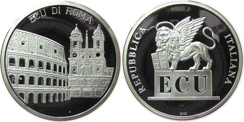 Medaille o.J. Italien Silber Ecu di Roma, Kolloseum / Löwe, ca. 40,2 MM, ca. 19,7 Gramm (.999er Silber), kleine Flecken pp