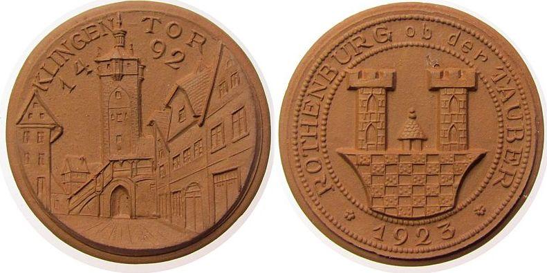 Medaille 1923 Porzellan Porzellan Rothenburg ob der Tauber - Klingentor, ca. 41,5 MM vz