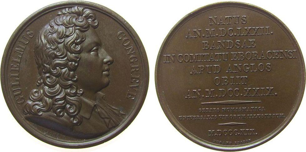 Suitenmedaille 1819 Großbritannien Bronze Congreve Gulielmus (William) (1670-1729) - englischer Schriftsteller, , Büste nach rechts / Mehrzeiler, v. Caque, ca. 41, vz-stgl