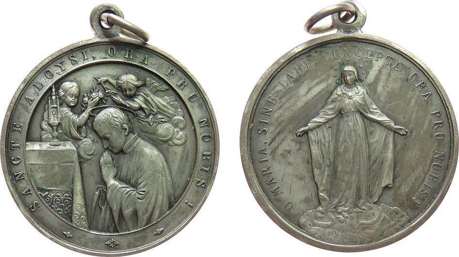 tragbare Medaille o.J. Religion WM Aloysius - ORA PRO NOBIS, Patron der Studierenden, Hl. Aloysius betend am Altar, Hl. Maria, ca. 40 MM vz
