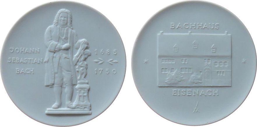 Medaille o.J. Porzellan Porzellan Bach Johann Sebastinan (1685-1750), Denkmal / Bachhaus in Eisenach, ca. 66,5 MM, weiss prägefrisch