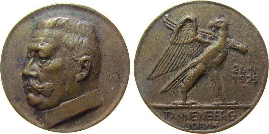 Medaille 1914 Hindenburg Bronzeguß Hindenburg - auf die Schlacht bei Tannenberg, Büste nach links / Adler, v. Otto Maith (Frankfurt), ca. 62,5 MM, ca. 11 ss