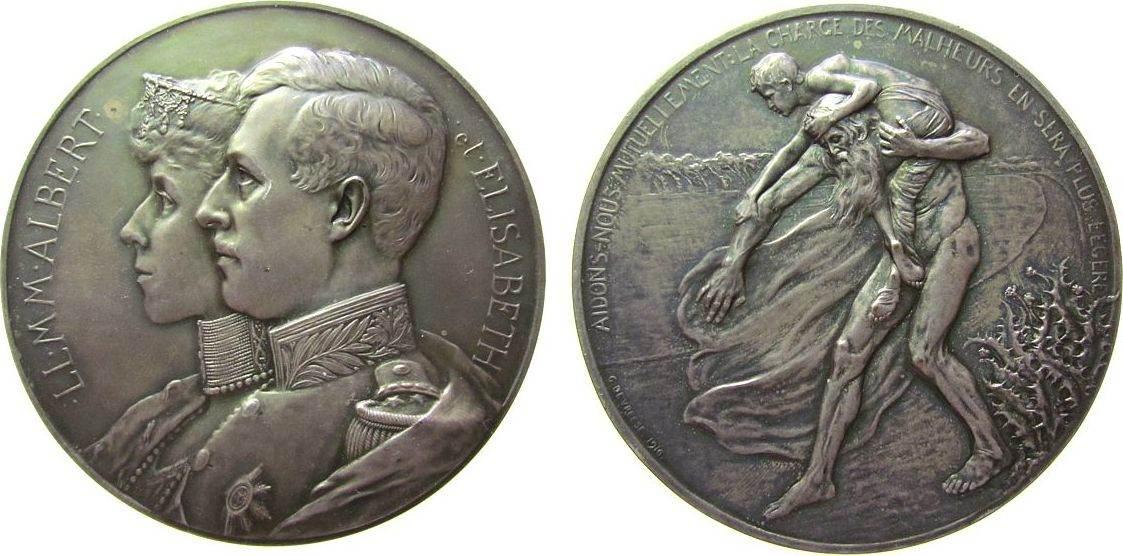 Medaille 1916 o.J. Belgien Bronze versilbert Albert I und Elisabeth - Aufruf /Appell zur Hilfe, beider Brustbilder nach links / alter Mann trägt Jüngling, vz+