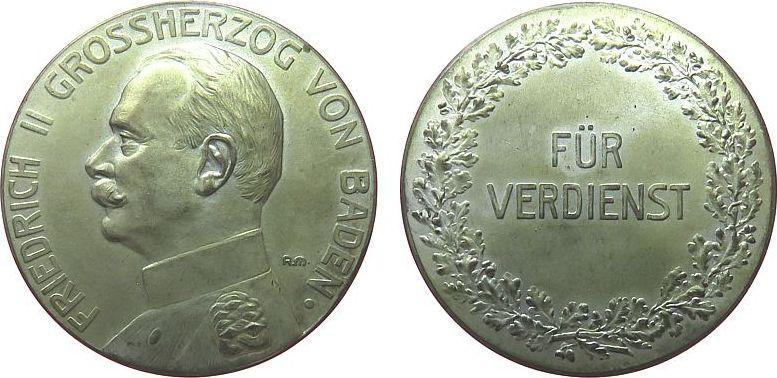 Verdienstmedaille o.J. vor 1914 -- Friedrich II. (1907-1918) Baden - für Verdienst, Büste nach links / Schrift im Kranz, ca. 38 MM, Randpunze vz