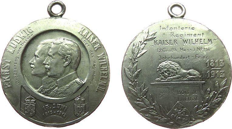 tragbare Medaille 1913 Städte -- Ernst Ludwig (1892-1918), Darmstadt Hessen, auf die Jahrhundertfeier des Infanterieregiments