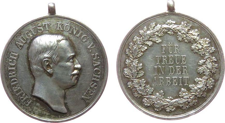 tragbare Medaille o.J. vor 1914 Silber Albert (1873-1902) - Für Treue in der Arbeit, Sachsen, Büste nach rechts / Schrift im Kranz, Signatur: M.B. (v. Barduleck vz