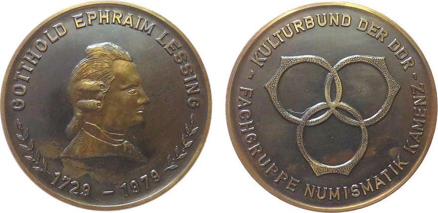 Medaille 1979 DDR Kupfer Kulturbund der DDR - Fachgruppe Numismatik Kamenz, Gotthold Ephraim Lessing, Büste nach rechts / Umschrift, ca. 60 MM, za vz
