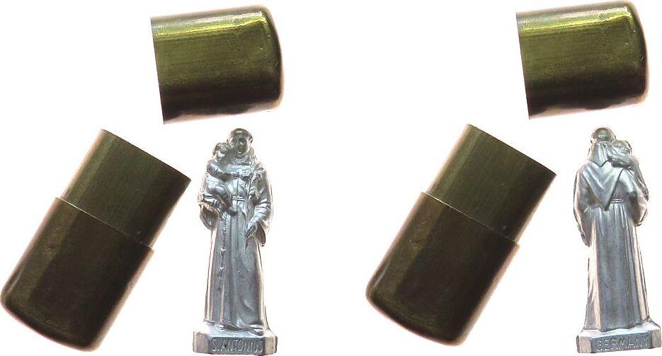 Taschenaltar o.J. Reformation / Religion Messing / Zinn (?) St. Antonius trägt ein Kind, (kleine) Statue: ca. 27 x 10 MM, Behälter: ca. 30 x 13,5 x 8 MM vz