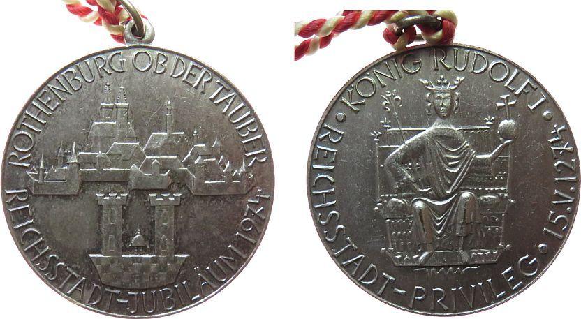 Medaille 1974 Städte Bronze versilbert Rothenburg ob der Tauber - auf das 700jährige Reichsstadtprivileg, König Rudolf sitzend mit Reichsinsignien / vz