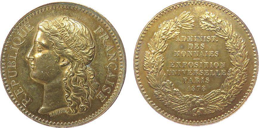 Medaille 1878 Frankreich Bronze Paris - auf die Weltausstellung, v. Barre, ca. 30,5 MM vz+