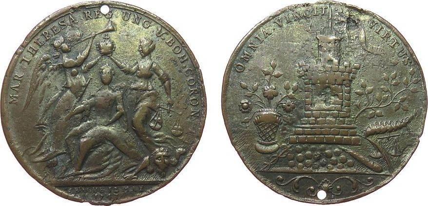 Medaille 1741 o.J. Österreich Bronze Maria Theresia (1740-1780) - auf die Krönung, Krönungsszene / OMNIA VINCIT VIRTVS - Turm, ca. 42,5 MM, gelocht schön