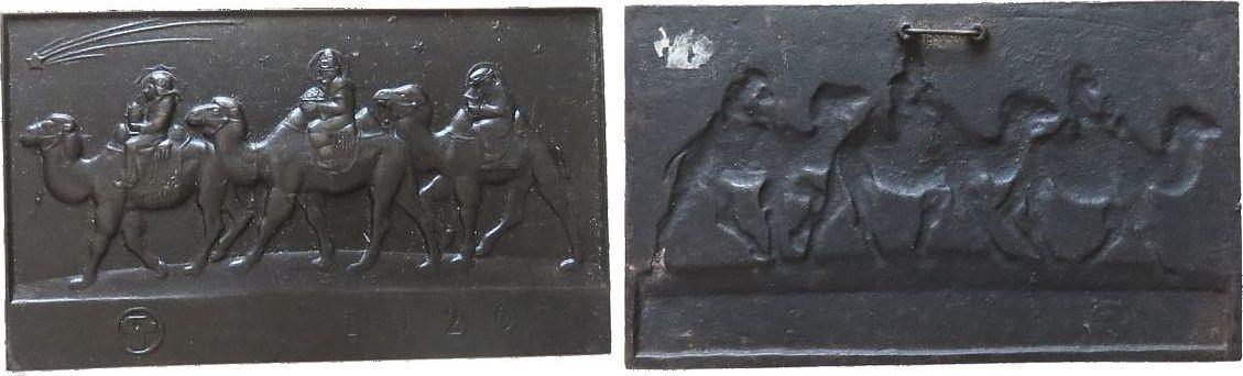 Plakette 1926 Weihnachtliche Motive Gußeisen Deutsche Weihnachten - die Heiligen drei Könige auf Kamelen nach links, darüber Stern zu Bethlehem, v. H. Schäfer., ca. vz