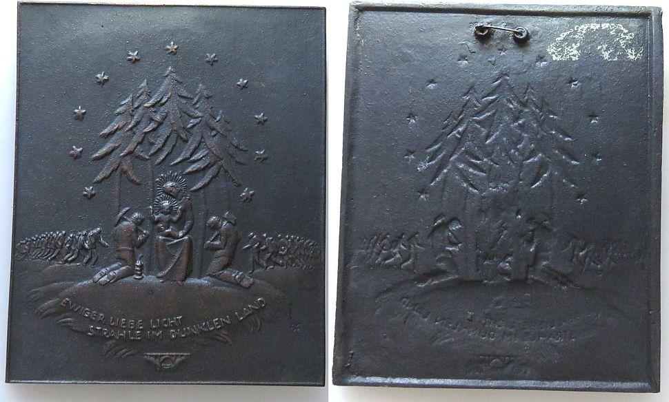 Plakette o.J. Bergbau Bronzeguß Ewiger Liebe Licht strahle im dunklem Land, Hl. Maria mit dem Jesuskind, daneben zwei Bergleute mit Spitzhacke und Ham vz