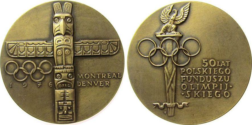 Medaille 1976 Polen Bronze Olympiade in Montreal und 50 Jahre Olympischer Fond, Totempfahl / Olympische Ringe und Fackel mit Adler, ca. 60 MM, matti vz