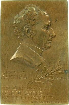 Plakette (einseitig) 1906 Personen Bronze Martinelli Ludwig (1833-1913), Schauspieler, auf sein 50jähriges Bühnenjubiläum, einseitig, von H. Schäfer, 35,6 x 54,8 M vz