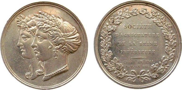 Silberjeton 1819 Frankreich Silber Sociéte d Agriculture, de la Seine Inférieure Créée en 1761 Ret. en 1819, Minerva und Apollo, von Depaulis F., Durchmesse ss-vz