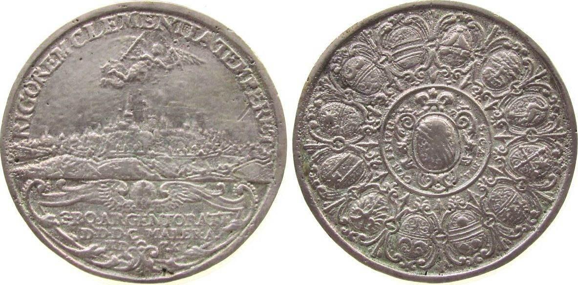 Medaille 1640 Frankreich Silberguß Strassburg - Rigorem Clementia Temperet, Stadtansicht - darüber Engel mit Schwert und Olivenzweig, im Abschnitt: S.P.Q ss