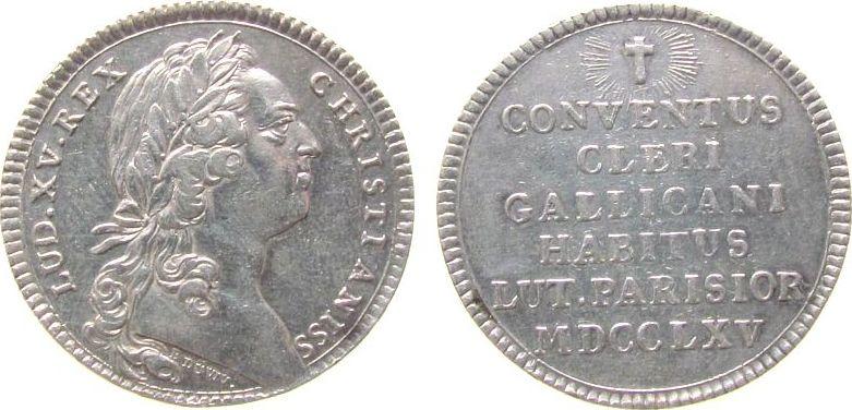 Jeton 1765 Frankreich Silber Louis XV (1715-1774) - Assemblee du Clerge de France, Conventus Cleri Gallicani Habitus Lut. Parisior, Signatur: B DUVIV, ss