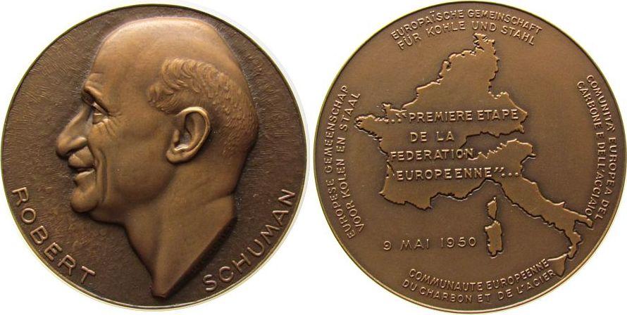 Medaille 1950 Frankreich Bronze Schuman Robert (1886-1963), deutsch-französischer Staatsmann, Europäische Gemeinschaft, Büste nach links / Europakarte, v stgl