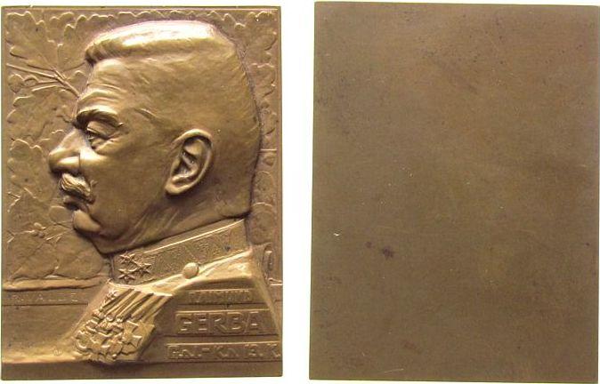 Plakette o.J. Kroatien Bronze Gerba Raimund (1849-1918) - General, Brustbild in Uniform und Orden nach links, einseitig, v. Valdec Rudolf, ca. 49 x 65 vz