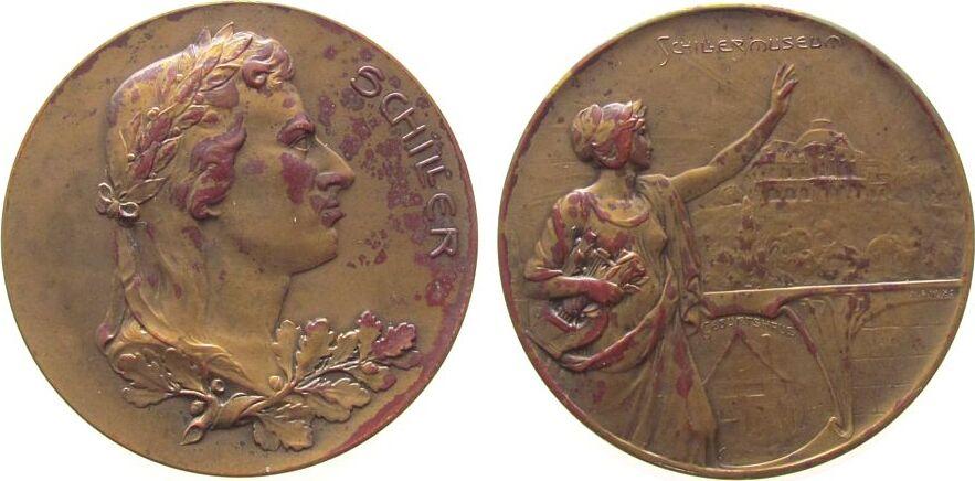 Medaille o.J. Personen Bronze vergoldet (?) Schiller Friedrich (1759-1805), Dichter - Schillermuseum in Weimar, Büste über Lorbeerzweig nach rechts / w vz