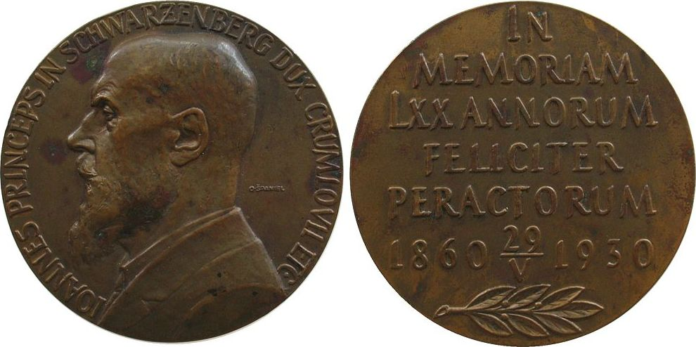 Medaille 1935 Personen Bronze Johann Landgraf zu Klezzgau, Graf zu Sulz, Tschechien - Schwarzenberg - Krumlau, Mitglied der numismatischen Gesellschaft vz