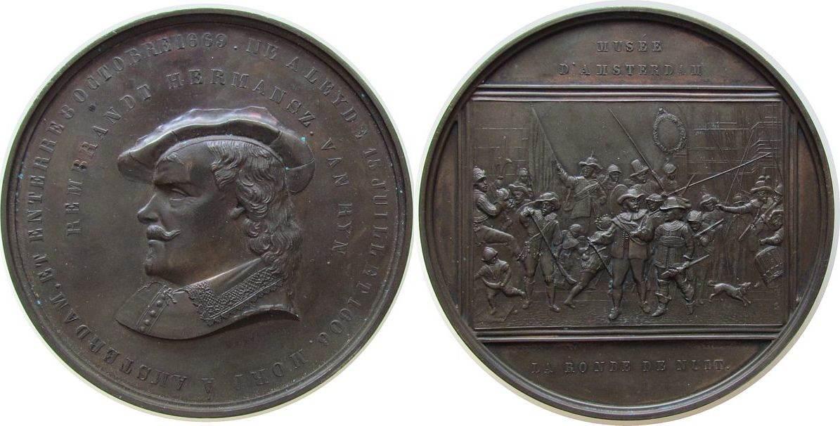 Medaille 1873 Niederlande Bronze Rembrandt (1606-1669), niederländischer Maler, Brustbild nach links / die Nachtwache, v. M. C. de Vries, ca. 109 MM, mini vz-stgl