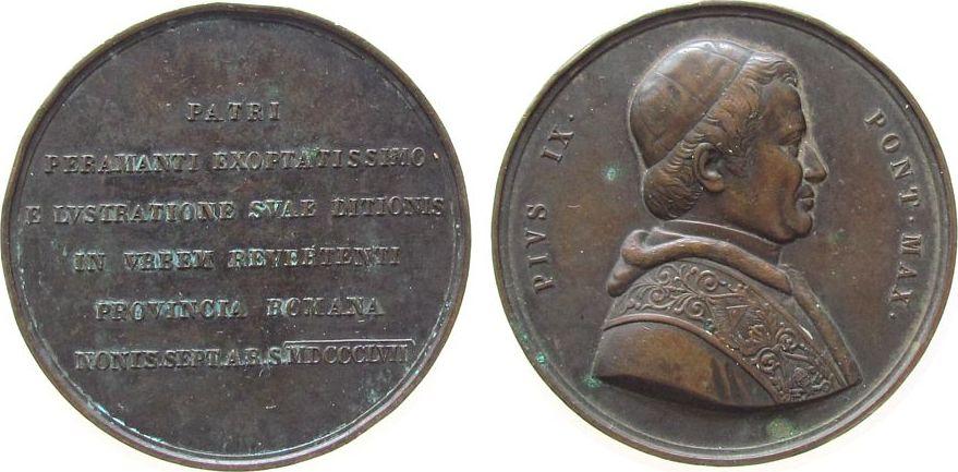 Medaille 1857 Vatikan Bronze Pius IX (1846-1878) - auf seinen Besuch in den römischen Provinzen, unsigniert, ca. 58,5 MM, Randstöße ss