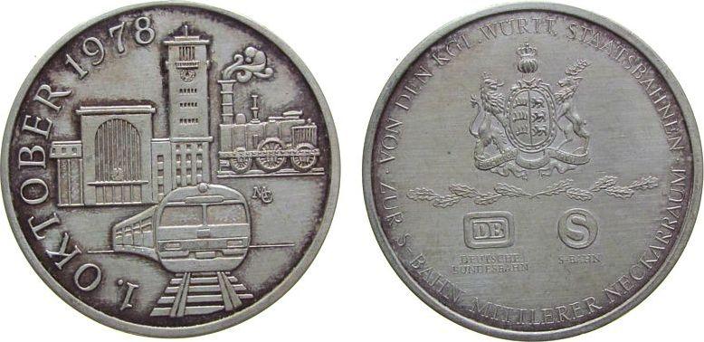 Medaille 1978 Gelegenheitsmedaillen -- S-Bahm mittlerer Neckarraum, Bahnhof - und Lokomotiven / Wappen und Schrift, ca. 35,5 MM, ca. 15.18 Gramm, Patina stgl