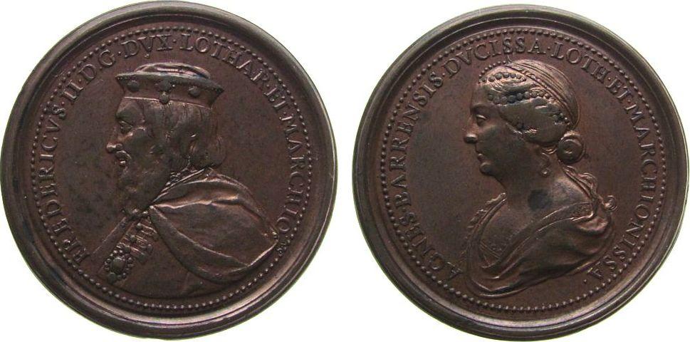Suitenmedaille o.J. Frankreich Bronze Fredericus II und Agnes Barrensis, Lorraine, aus der Suite