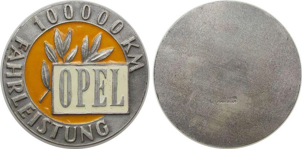 Medaille o.J. Automobile WM teilemailliert Opel - 100000 KM Fahrleistung, ca. 80 MM, v. E.F. Wiedmann (Frankfurt) ss-vz