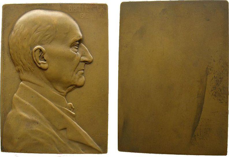Plakette 1912 Personen Bronze Baumeister Bernhard (1828-1917), K.u.K. Hofschauspieler, Brustbild anch rechts, v. K. Perl, ca. 46,6 x 65 MM, einseitig vz
