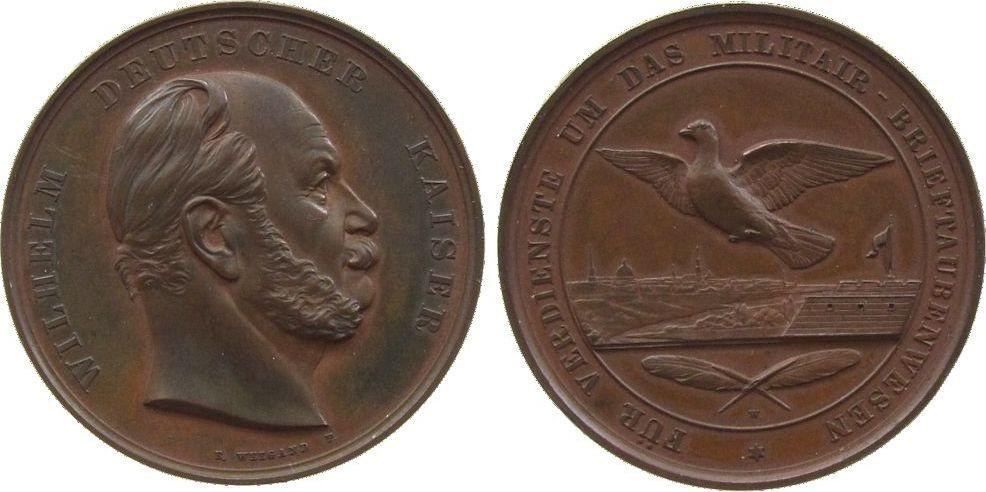 Medaille o.J. Tiere Bronze Wilhelm I. (1861-1888), für Verdienste um das Militär-Brieftaubenwesen, Kopf nach rechts / Taube über Stadtansicht, v. We vz