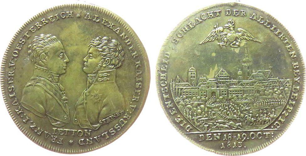 Jeton 1813 Rußland Messing Alexander I (1801-1825), auf die Völkerschlacht bei Leipzig, Brustbilder Alexander und Franz I von Österreich gegenüber vz