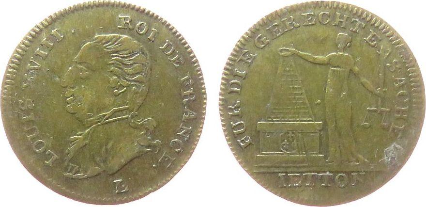 Jeton 1814 Frankreich Messing Louis XVIII - für die gerechte Sache, erster Pariser Frieden, Büste nach links / Frauengestalt mit Schwert und Waage, da ss