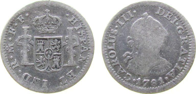 1/2 Real 1781 Mexiko Ag Carlos III von Spanien, Mexiko - F.F. schön