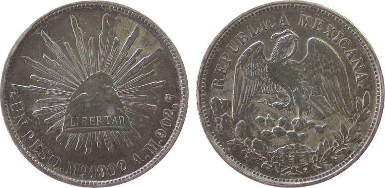 1 Peso 1902 Mexiko Ag Mo-AM, kleine Randfehler ss-vz