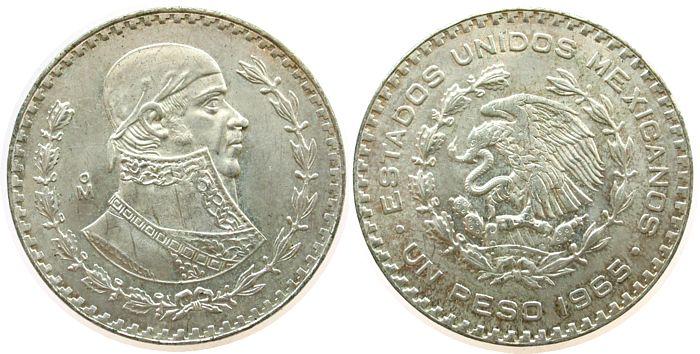 1 Peso 1965 Mexiko Ag Pavon unz