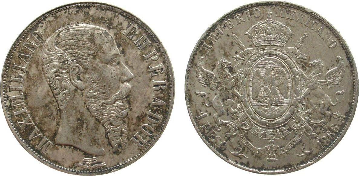 1 Peso 1866 Mexiko Ag Maximilian, Mo (Mexico City), Randfehler, fleckig ss+