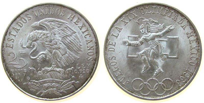 25 Pesos 1968 Mexiko Ag Olympiade unz