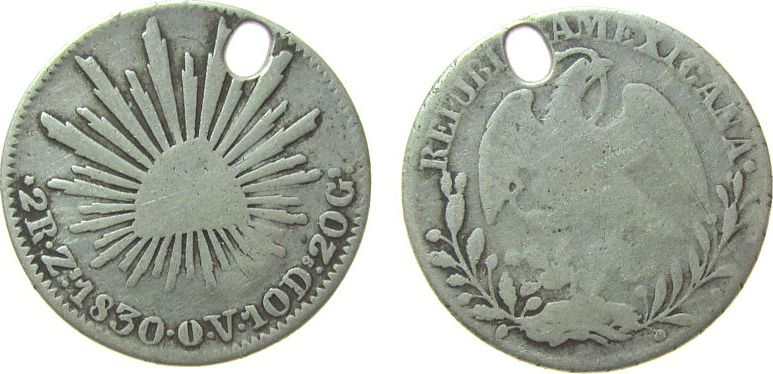 2 Reales 1830 Mexiko Ag Zs-OV (Zacatecas), gelocht s / sge