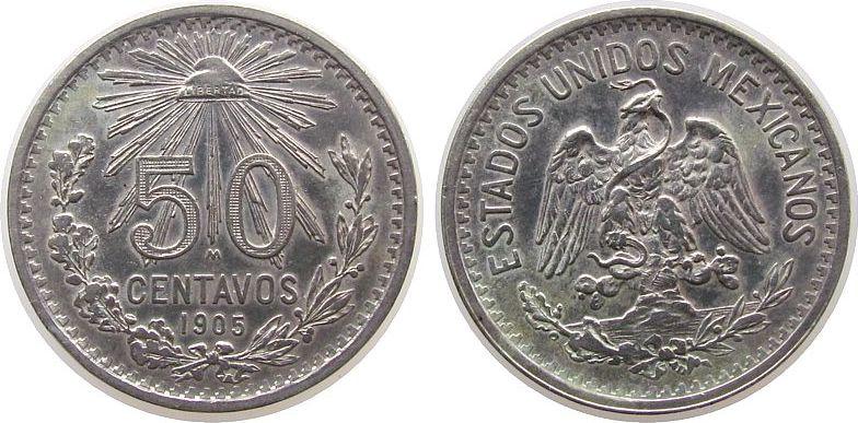 50 Centavos 1905 Mexiko Ag Adler, kleiner Randstoß ss+